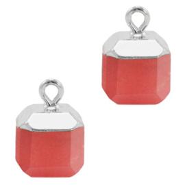 1 x Natuursteen hangers square Crimsom red-silver Jade