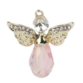 Metalen en Crystal hanger bedel engel met strass roze 28mm x 25mm oogje 1,5mm
