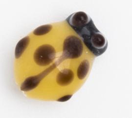 5 x gele glaskraal lieveheersbeestje 11 x 9 x 7 mm; Gat 2 mm Handgemaakt