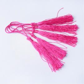 Satijn kwast lengte kwast 9 cm incl. lus 130 x 6mm deep pink
