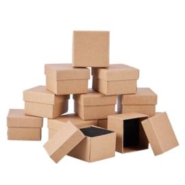 6 luxe cadeaudoosjes voor bijvoorbeeld ringen 70 x 70 x 35mm bruin naturel (pakketpost)