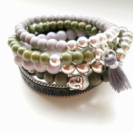 Armbandenset army green /grijs ♥