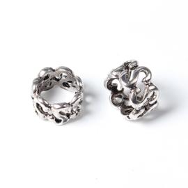3 x Tibetetaans zilveren metaal ring  ca. 10 x 7 mm (Ø 8mm)