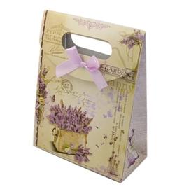 Cadeautasje kraft papier afmeting: 165 x 125 x 56mm met strikje lavendel (op = op!)