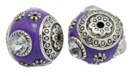 Schitterende handgemaakte Kashmiri kraal 18mm ingelegd met metaal en strass Gat: 2mm paars