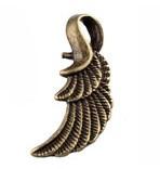 4 x Tibetaans zilveren Engelen vleugeltje 32 x 11 x 3mm Gat: 7 x 4mm geel koper