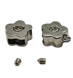 2 stuks DQ metaal eindkap RVS  met kristal 15 x 13mm voor leer binnenzijde: 8mm x 3,2mm (nikkelvrij)