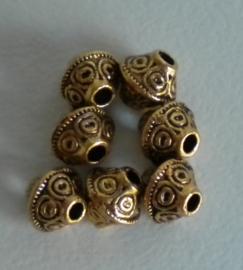 10 stuks Tibetaans zilveren tussenzetsel kraal 7mm x 6mm Goud kleur