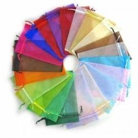 c.a. 100 stuks assortiment  organza zakjes 10x15cm gemixte effen zakjes met lintje 10 kleuren