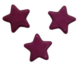 5 x Keramiek turquoise ster roze 15 mm gat 2 mm