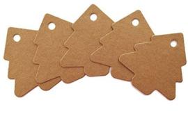 50 stuks bruine labels prijskaartjes met ponsgat 5mm zonder touwtje kerstboom model afm. c.a. 54  x 53mm