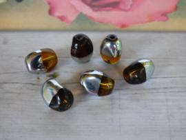 10 x Duo kleur Kraal Zilver/bruin ca. 13x 8.5mm Oogje: 1.7mm