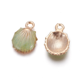 2 x Metalen bedels shell light gold green ca. 19 x13 x 4mm oogje 1,4mm