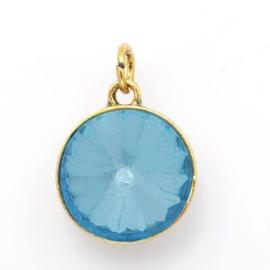 Geboorte steen hanger prachtig kristal facet 18 x 12mm - Maart Aquamarijn goudkleur