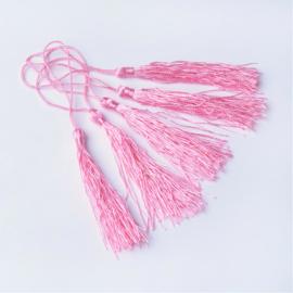 Satijn kwast lengte kwast 9 cm incl. lus 130 x 6mm pink