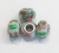 Per stuk Glaskraal European-style wit met roze/groen motief 13 mm