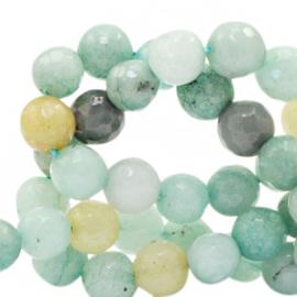 10 x  Jade facet geslepen Half edelsteen kraal Multicolour turquoise green 8mm gat 1,2mm