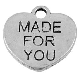 10x Tibetaans zilveren bedel van een hart 15.5mm x 15mm x 1mm gat: 2mm