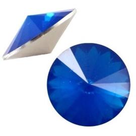 1x BQ quality 1122- Rivoli puntsteen12 mm Dark capri blue opal ca. 12 mm (1122)