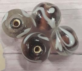 10 x mooie paars/witte glaskraal 8 x 9 mm gat : 2 mm