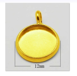 4x Houder Y: Prachtige Cabochon houder. Binnenzijde: 10mm goud kleur