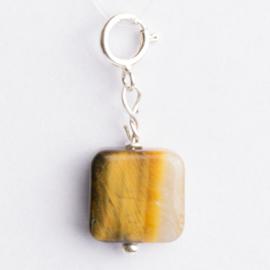 Be Charmed bedel natursteen met karabijnsluiting zilver met een rhodium laag (nikkelvrij)