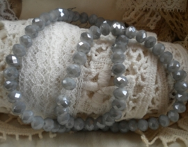 Streng met c.a. 100 stuks electroplated briolette kristal kraal 6 x 4mm gat 1mm imitatie Jade Grey