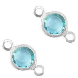 2 x Bedels DQ metaal tussenstuk crystal glas rond 6mm Silver-Baltic blue crystal