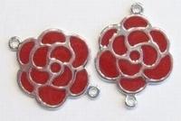 Per stuk Antiek zilveren metalen tussenzetsel bloem met rode epoxy 30 mm