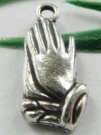 5 x prachtige Tibetaans zilveren bedel in gebed biddende handen 8,5 x 19 x 2,5mm oogje: ca. 2mm