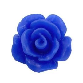 2 x Roosjes kralen 10 mm matt Cobalt blue