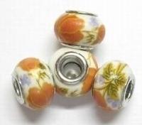 Per stuk European-style Porselein wit met oranje bloemen 14 mm
