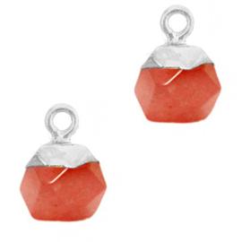 1 x Natuursteen hangers hexagon Crimsom red-silver Jade