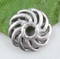 10 stuks tibetaans zilveren kralenkapjes 9 x 3.5mm gat: 2mm