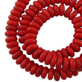 20 x Natuursteen howliet 8x3.5 mm rondelle rood