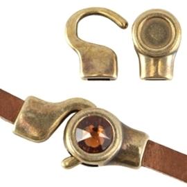 DQ metaal setting/haakslot voor 7mm cabochon en Swarovski SS34 (voor 5mm plat leer) Antiek brons (nikkelvrij)