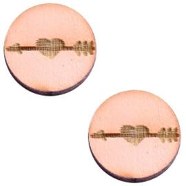 2 x Houten cabochon basic 12 mm arrow&heart Pink