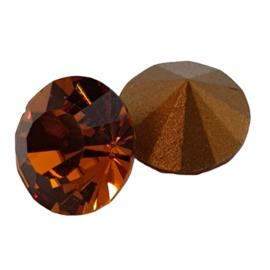 5 x Amber Swarovski puntsteen rond; 7 mm