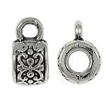 10 x Tibetaans zilveren bails hanger 6 x 11 x 7,5mm  Ø 3,8mm oogje: 2mm