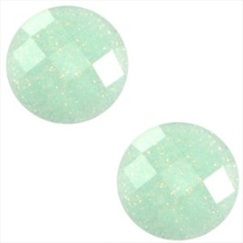 2 x Basic cabochon 10mm Light azore groen glitter