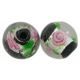 8 Zwarte silverfoil glaskralen met bloemetjes 12mm gat: c.a. 2mm