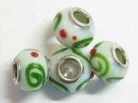 Per stuk Glaskraal European-style wit met groene krul en rode stip 14 mm