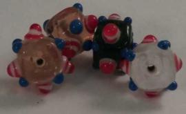 5 Stuks prachtige gekleurde glaskralen met dots 10x16 gat 2mm
