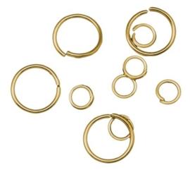 100 stuks goudkleur gemengde ringetjes van 4mm t/m 10mm 0,7mm dik