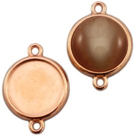 Houder N: DQ metaal settings 2 ogen voor 20 mm cabochon Rosé goud (nikkelvrij)