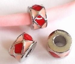 Per stuk European Jewelry kraal rond roze met rode blokjes antiek zilver 11 mm