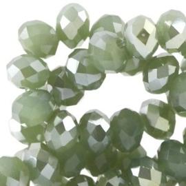 15 x Top facet kralen 8x6mm disc Khaki green opal