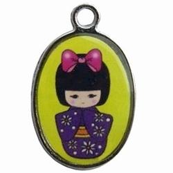 Per stuk Metalen bedel geisha Geel 25 mm