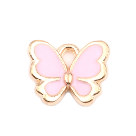 DQ vlinder bedel gold plated roze 13mm x 11mm oogje 2mm