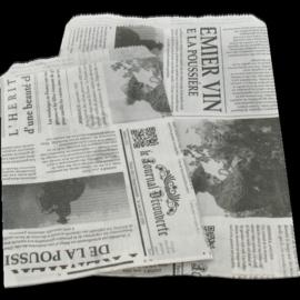 10 x  Fourniturenzakje kraft bedrukt  krant 15 x 10cm nr. 1
